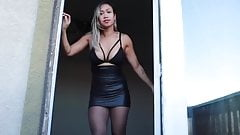 Latin Lady with Tight leather Skirt and High-Heels (Part2)