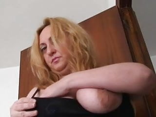 Breasts hacked off - Chubby obese breasted mama bringing off with a toy