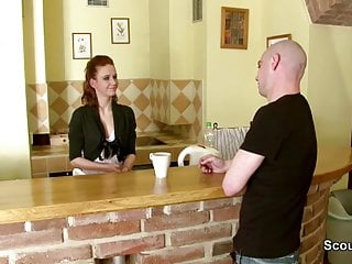 Getting her first facial Stranger seduce skinny redhead teen to get her first fuck