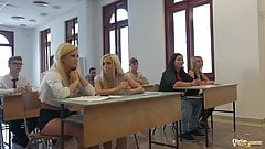 College students fuck their professor in classroom hardcore