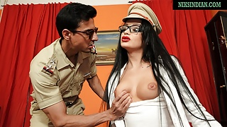 Indian girl swallows officer's cum after pussy and anal sex