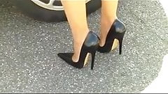 Extreme stiletto shoes with hobble skirt