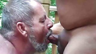 Daddy bear sucking big cock & eating cum outdoors
