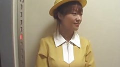 Japanese Elevator Handjob with White Gloves