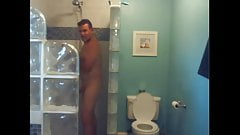 military dad cums and takes a shower