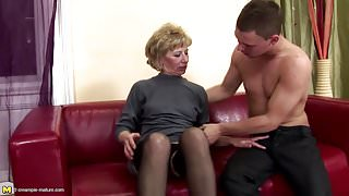 Lovely mother gets anal sex and pissing from son