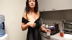 Naughty Milf Stroking In The Kitchen