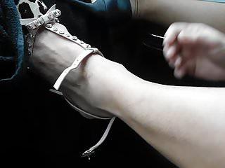 Bondage heel hose Putting on my other shoe and hose