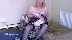 Big tits Mature Sally in a corset