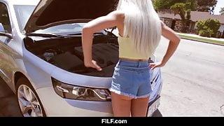 FILF - Petite Elsa Jean's Car Problems Turn Into BBC Hook Up