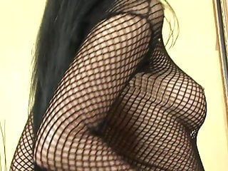 Body fetish fishnet - Impressive slut in fishnet body rubs her cunt during fucking