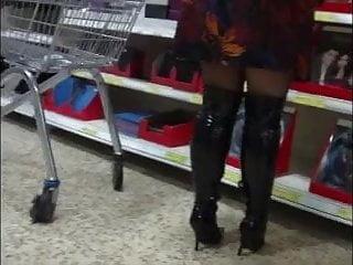 Mature in boot - Mature in boots, upskirt, voyeur