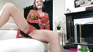 Milf in lingerie strokes her pussy