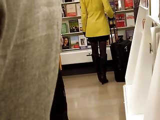 Milf flashing in leather coat Candid girl in yellow coat tights and black leather boots