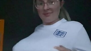 Sexy nerd with huge nips and tits