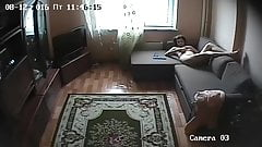 Hidden camera. Beautiful girl at home mastrubiruet