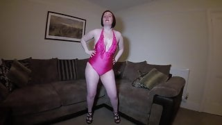 Dancing Striptease in High Heels and Swimsuit