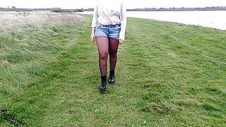 Amateur walks braless flash public