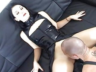 Latex gromet Mistress and her bi studs