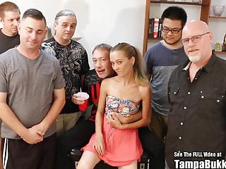 Tiny teen gang bang Thin blonde tiny tits slut bukkake sperm gang bang