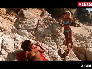 Lesbian sex on beaches Letsdoeit - romantic sex at the beach with two hot lesbians