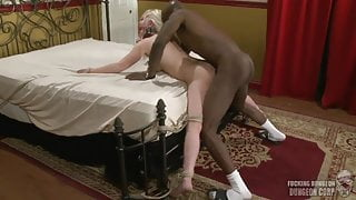 White wife tied to bed and used by black