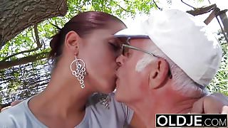 Young Girlfriend caught fucked by old man she sucks his dick