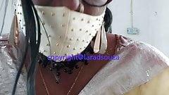 Indian sexy crossdresser Lara D'Souza in yellow saree