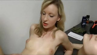 swedish babe  with her step mom sharing one cock