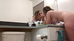 Hidden Cam. Cute Blonde Girl in Bathroom