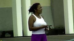 candids - MILF big tits hard nipples white tanktop