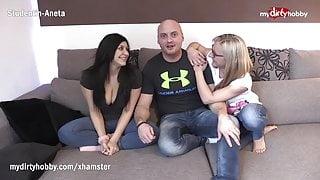 MyDirtyHobby - Shy busty amateur has her first threesome