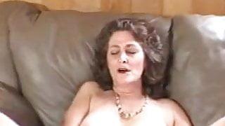 Older mature granny mom solo shaved pussy masturbating