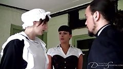 A sexy maid and a stinging caning