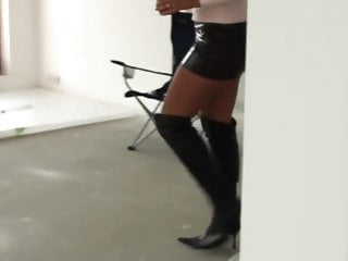 Leather skirt tight tits movies Milf in leather boots and leather skirt