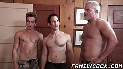 Raw foursome for two stepdads and horny twinks
