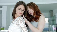 Lesbians Lana Seymour and Ariadna in Fashion show by SapphiX