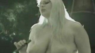 Blonde smokes on Sybian