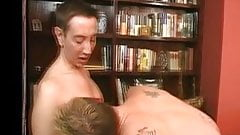 Bisexual couple licking pussy of a hollywood whore and deep throat hard cock