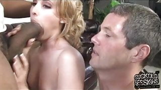 Small white pussy destroyed by BBC while hubby watch