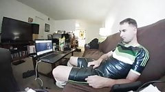Gay Boy in Latex Soccer Outfit cum on Sneaks