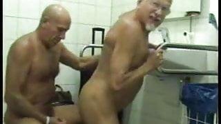 Old men fuck in public restroom