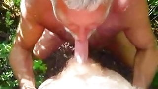 Old man suck another old man's dick