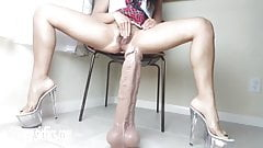 Latina's Giant Dildo Wrecks Her Pussy