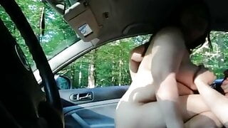 Chubby pregnant wife rides stranger's cock in car