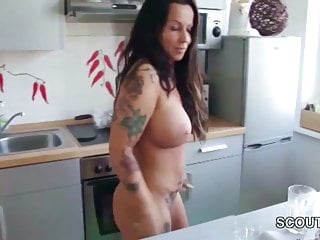 Naked in geogria Step-son caught german mom naked in kitchen and fuck her