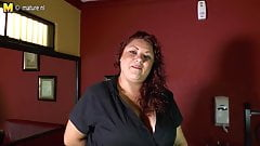 Mature Latin American BBW playing with her toy