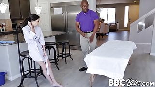 Tattooed Trinity St Clair fucking after interracial massage