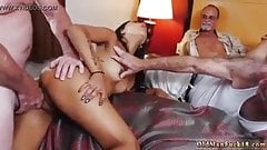 hot brunette whore being penetrated by old men