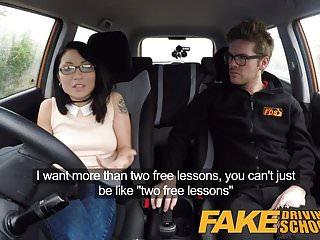 Free asian shemale on shemale video Fake driving school half asian tiny student fucks for free